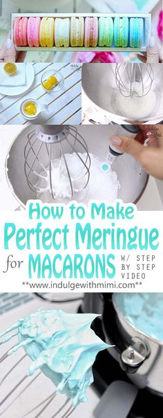How to Make Perfect Meringue for Macarons Most macaron problems comes from a poorly prepared meringue. Video and tutorial showing you how to prepare the perfect meringue for macarons. Macaroon Cookies, Meringue Cookies, Macaron Cake, Shortbread Cookies, Macaron Filling, Meringue Desserts, Cookie Icing, Cookie Cups, Baking Recipes