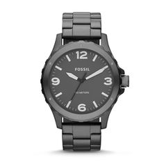 Fossil Nate Three-Hand Stainless Steel Watch - Smoke JR1457 | FOSSIL®