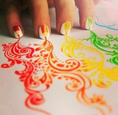 Currently browsing Inspiriting Creative Color Pencil Drawings by Kristina Webb for your design inspiration Love Nails, How To Do Nails, Fun Nails, Pretty Nails, Nail Art Designs, Nails Design, Pencil Nails, Color Pencil Art, Color Art