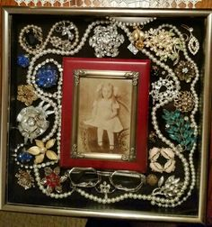 Don't know what to do with grandmas old jewelry take her picture then decorate it. She would love it. Something also to pass down