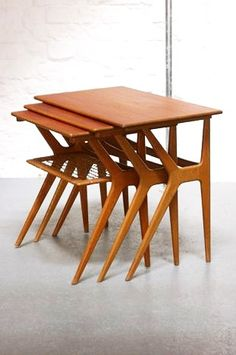 Fantastic mid century Danish teak nesting tables!                                                                                                                                                      More