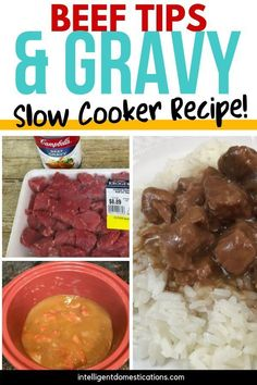 My goal with easy recipes like this one for Beef Tips & Gravy is to create a simple supper full of flavor without a lot of work involved. Toss the ingredients into the Slow Cooker in the morning and just cook some rice when you get home for a delicious ri Sunday Recipes, Fun Easy Recipes, Other Recipes, Quick Easy Meals, Delicious Recipes, Crock Pot Slow Cooker, Slow Cooker Recipes, Crockpot Recipes, Beef Tips And Gravy