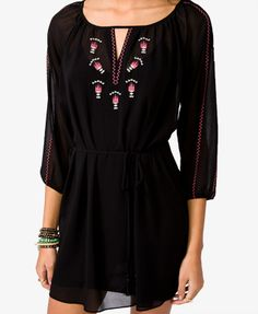 Southwestern Embroidered Dress | FOREVER21 - 2031557309