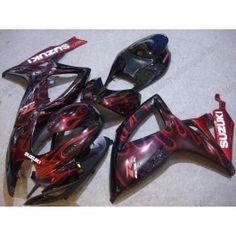 Suzuki GSX-R 600/750 2006-2007 K6 Injection ABS Fairing - Red Flame - Black | $679.00