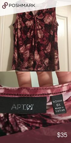 BEAUTIFUL ROSE COLORED APT 9 TOP This beautiful floral top has varied colors from soft pink to deep burgundy. Sleeveless with gathered detail at V neckline. This top is woman's size OX. Great work peace with a suit or dress pants or skirt! Apt. 9 Tops Blouses