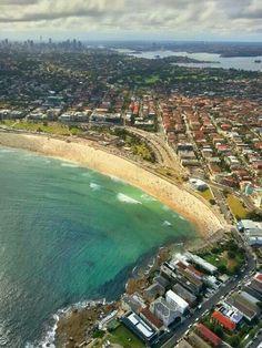 Flying over Bondi Beach in Blue Sky Helicopters.  Theo Tsalkitzoglou/Bondi Beach, Sydney Australia.