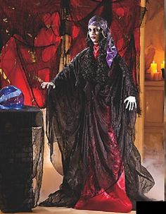 standing gypsy ghost woman w flashing lighted eyes halloween prop 5 ft 10tall scary halloween decorationshalloween horrorhalloween - Halloween Horror Decorations