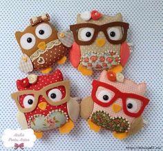 Owls from felt 0 Felt Crafts Diy, Owl Crafts, Felt Diy, Sewing Crafts, Felt Christmas, Christmas Crafts, Felt Keyring, Owl Quilts, Owl Bags