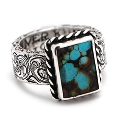Silver King Square Turquoise and Sterling Silver Ring at Maverick Western Wear