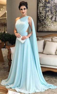 Light Blue Prom Dresses,One Shoulder Prom Dress,Chiffon Formal Prom Gown, Simple Bridesmaid Dresses Simple Bridesmaid Dresses, A Line Prom Dresses, Modest Dresses, Elegant Dresses, Pretty Dresses, Beautiful Dresses, Chiffon Dresses, Dress Prom, Prom Gowns