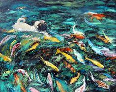 "Pug Dog Art Print/""Swimming With Koi""/koi fish/by Original M. Holzer on Etsy, $13.50"