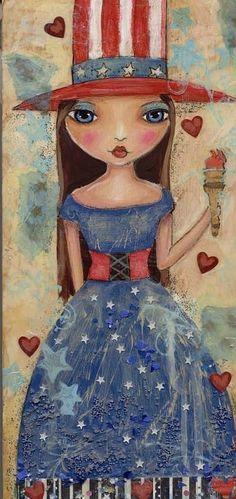 """Folk Art American Girl Whimsical Embellished print with glitter details"" : pinkglitterfae - etsy  #4thofJuly"
