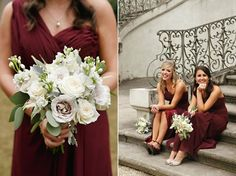 Bouquets of white roses for the bridesmaids. Red, White, and Rosy Real Wedding at Atlanta History Center // Susan Graham Signature Events   Laura Stone Photography