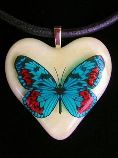 Butterfly Heart Fused Glass Pendant - Delphi Stained Glass