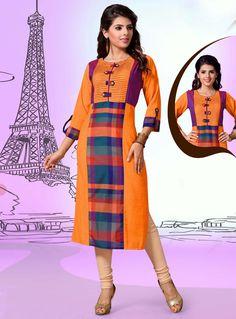 Chanderi Cotton Digital Printed Orange and Cream Color Straight Readymade Kurtis Cotton Anarkali Dress, Indian Party Wear, Indian Wear, Churidar Designs, Kurti Patterns, Printed Kurti, Kurti Designs Party Wear, Latest Fashion Design, Indian Designer Wear