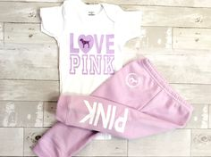 Toddler Baby Girls Love Pink Size 12 Months Fall Winter Sweatpants Clothes Outfit Sets