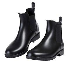 5301c079 Asgard Women's Short Rain Boots Waterproof Black Elastic Slip On Ankle  Booties B34 Short Rain Boots