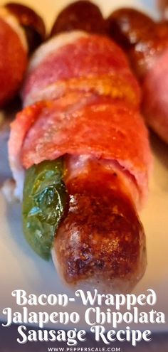 Jalapeño pigs in blankets is a great recipe for when you need extended party prep, too. You can make them ahead of time. Simply prepare the sausages up until the cooking stage and then store in foil in the refrigerator until ready to enjoy. #jalapeno #baconwrappedsausages #pigsinablanket #chipolatasausages Bacon Wrapped Sausages, Bacon Wrapped Jalapenos, Spicy Appetizers, Appetizer Recipes, Dinner Recipes, Sausage Recipes, Meat Recipes, Mexican Food Recipes, Chipotle Recipes
