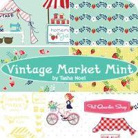 Vintage Market Mint One Yard Pack<BR>Tasha Noel for Riley Blake Designs