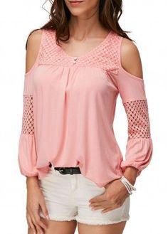 Pierced V Neck Cold Shoulder Pink Blouse on sale only US$30.64 now, buy cheap Pierced V Neck Cold Shoulder Pink Blouse at liligal.com