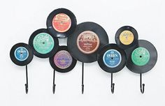 Kare Records Coat Hook - Urban Outfitters What a way to recycle old records? Record Decor, Vinyl Record Crafts, Vinyl Crafts, Vinyl Projects, Vinyl Art, Decor Crafts, Music Crafts, Music Decor, Vinyl Dekor