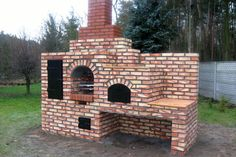 Grille ogrodowe, wędzarnie, piece chlebowe, piece do pizzy Outdoor Kitchen Plans, Backyard Kitchen, Outdoor Kitchen Design, Backyard Patio, Outdoor Smoker, Pizza Oven Outdoor, Outdoor Cooking, Masonry Bbq, Smoker Designs