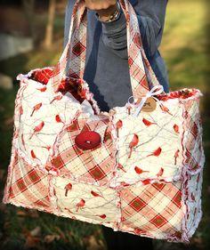 Cardinal Tote Plaid Tote Cardinal Bag Large Weekender Bag