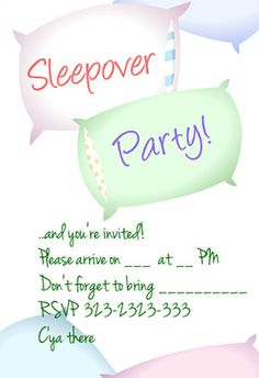 Sleepover Party Printable Invitation Customize Add Text And Photos Print For
