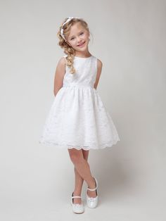 White Adorable Lace Flower Girl Dress with Sash