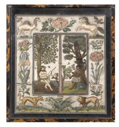 English, silk threads needlework mirror with folding shutters, the left shutter with a wild man wearing a skirt of flowers, a circlet of flowers in his hair, seated beneath a tree with a bow and arrow beside him, a spider hanging from a tree and a squirrel on a branch before him, the right shutter with a blackamoor woman standing beneath a tree and wearing a feather skirt, a seed pearl necklace and bracelets and smoking a pipe, a parrot on a branch before her, circa 1660