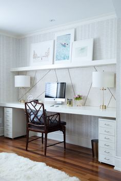 Built in offices space with large amount of desk room | The Curated House