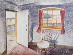 Eric Ravilious: Interior at Furlongs, 1939. The cottage, near the village of Firle, East Sussex, was rented by Ravilious' friend, the artist Peggy Angus, and became a hive of artistic activity throughout the 1930s