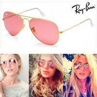 Ray Ban Aviador Dourado com lentes Rosa Espelhadas c1f143d6a5