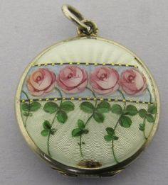 Pretty Antique Enamel Guilloche 800 Silver Locket Pendant 4 Rose Flowers   eBay