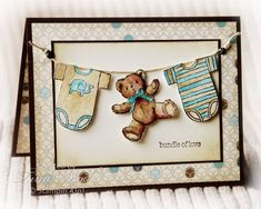 "Love this adorable baby card!  ... clothesline with inchies and a teddy bear ... ""boy colors"" of blue, brown and vanilla ..."