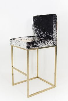Bar Stool in B&W Spotted Cowhide with brass legs   ModShop