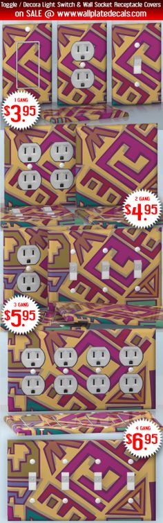 DIY Do It Yourself Home Decor - Easy to apply wall plate wraps | Watercolor Dream Different non figurative shapes wallplate skin stickers for single, double, triple and quadruple Toggle and Decora Light Switches, Wall Socket Duplex Receptacles, and blank decals without inside cuts for special outlets | On SALE now only $3.95 - $6.95