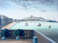 Chinese painting of the praya grande in Macau in about 1860, gouache on pith