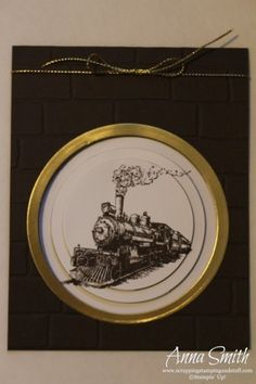 He's a Traveling Man Card using Stampin' Up! Traveler stamp set and brick wall embossing folder