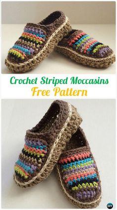 Crochet Striped Moccasins Free Pattern - #Crochet Women #Slippers Free Patterns