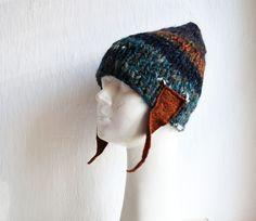 Ręcznie robiona na drutach unikatowa czapka z nausznikami z filcowanej wełny,wielokolorowa,  Delikatna mieszanka akrylu i wełny, nauszniki z filcow...