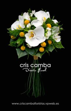 Bridal bouquet featuring orchids and craspedia. See more at: criscambafloristas.vpweb.es