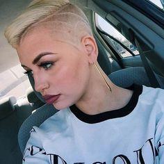 Short Blonde Hair + Half Shaved Head