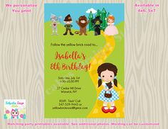 Wizard of Oz birthday Invitation invite Dorothy birthday party
