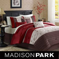 @Overstock - Create the perfect romantic getaway in your own home with this Madison Park Belle elegant comforter set that features a gorgeous mixture of ivory, chocolate-brown, and red. The multi-pattern design will fit into any classically-inspired bedroom.http://www.overstock.com/Bedding-Bath/Madison-Park-Belle-7-piece-Comforter-Set/7109329/product.html?CID=214117 $129.99