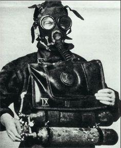 Xª MAS diver wearing a Belloni dive suit with a rebreather