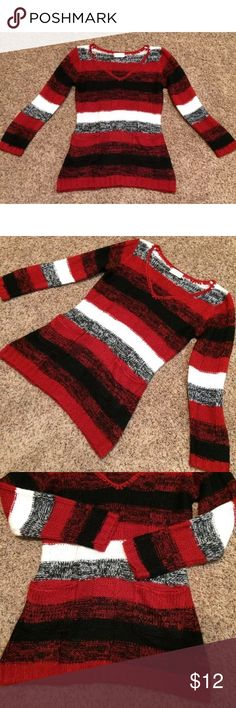 Bobbie Brooks ladies striped sweater Tunic medium Bobbie Brooks ladies red, black and white striped sweater Tunic, long sleeves, v Neck, double front pockets.  100% Acrylic, gorgeous top size medium new with out tags bobbie brooks Tops Tunics