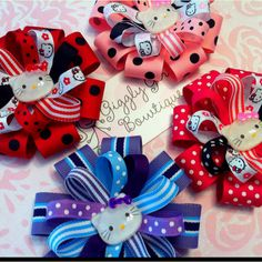 Hello Kitty Hair Bows!  Check out Giggly Girl Bowtique on Facebook!