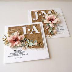 Siostrzane kartki ślubne / Two wedding cards Simple Wedding Cards, Wedding Cards Handmade, Romantic Cards, Handmade Birthday Cards, Birthday Greeting Cards, Wedding Ideas, Wedding Scrapbook, Scrapbook Cards, Scrapbooking