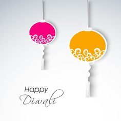 Beautiful happy diwali logo with beautiful glowing diya set on free vector illustration of hanging decorative floral lamp happy diwali greeting card m4hsunfo